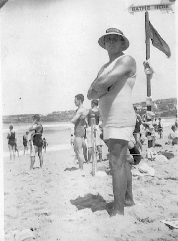 Stan McDonald and early beach flags, Bondi 1920s
