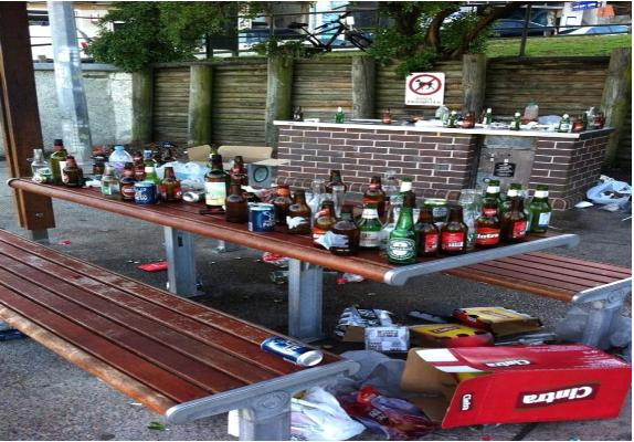 Aftermath of anti-social behaviour at Biddigal Reserve, North Bondi