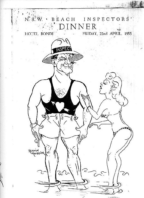 Beach Inspector & bikini girl cartoon 1955
