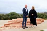 ACON CEO Nicolas Parkhill and Waverley Mayor Paula Masselos at the memorial in Marks Park, Tamarama.