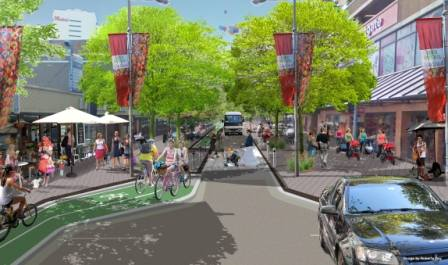 An artist impression of what Spring St could look like as part of the Complete Streets Project.