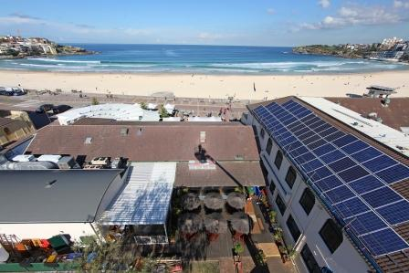 Solar panels on the roof of the Bondi Pavilion