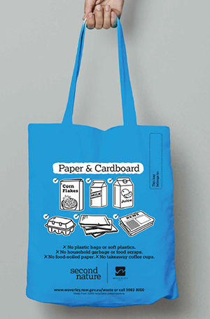 blue paper and cardboard recycling carry bag